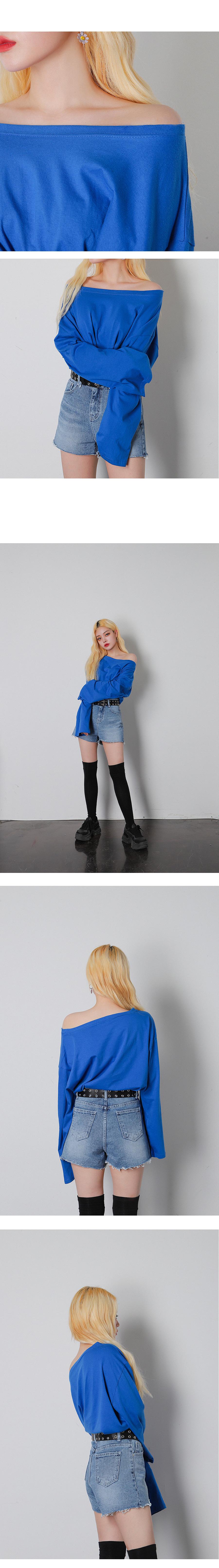 마스 오프숄더 롱 슬리브 티셔츠 (4color) - 써리미, 8,000원, 상의, 긴팔티셔츠