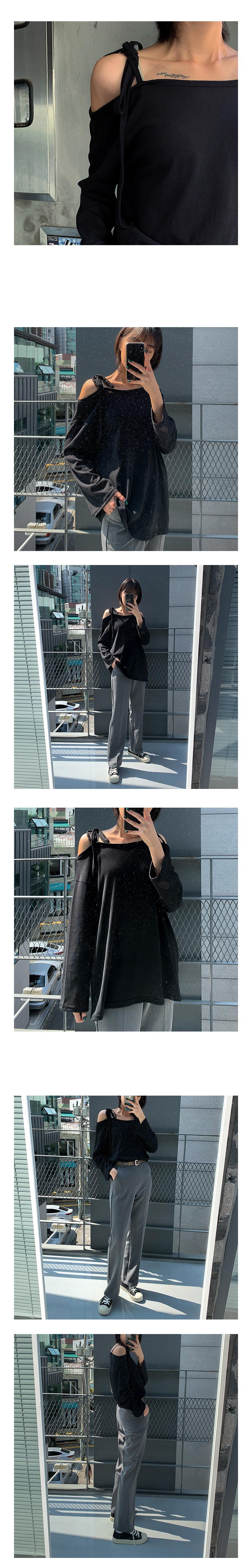 쥬디 리본 오프숄더 티셔츠 (5color) - 써리미, 13,000원, 상의, 긴팔티셔츠